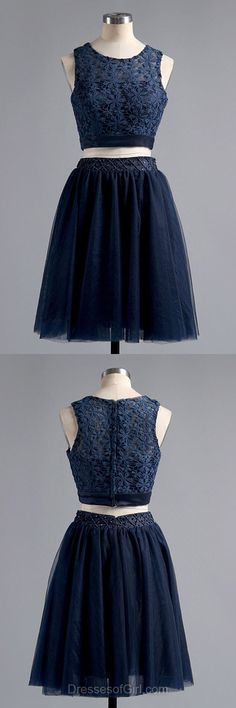 Lace Prom Dresses, Two Piece Formal Dresses, Tulle Evening Dresses, Navy Blue Homecoming Dresses, Short Graduation Dresses