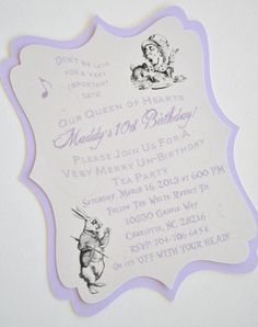 Layered Vintage Alice in Wonderland Mad Hatter Tea Party Invites. $30.00, via Etsy.