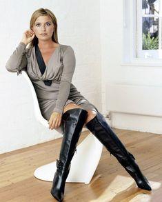 Knit minidress and black leather OTK boots #highheelbootslingerie