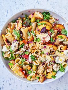 Kosher Recipes, Healthy Recipes, Healthy Food, Summer Pasta Salad, Grilled Peaches, Vegan Pasta, Fresh Mozzarella, Fresh Herbs, Vegetable Pizza