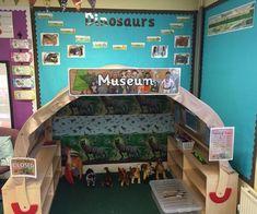 Our dinosaur museum role play area. Dinosaur Classroom, Dinosaur Theme Preschool, Eyfs Classroom, Dinosaur Activities, Dinosaur Nursery, Classroom Displays, Classroom Themes, Dinosaur Projects, Dinosaur Party