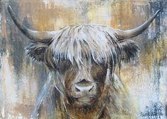 Highland Cow I van Atelier Paint-Ing op canvas, behang en meer Highland Cow Painting, Highland Cow Canvas, Highland Cow Art, Flow Painting, Oil Painting Abstract, Animal Paintings, Animal Drawings, Highland Cow Tattoo, Cow Drawing