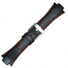 Seiko Sportura Leather Band 15mm Black Orange Stitching 4KG1JZ * To view further for this item, visit the image link.