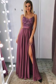 Buy Spaghetti-straps A-line Long Prom Dress, Evening Gown With Slit OP754 – ombreprom.co.uk #promdresses #eveninggown #longpromdresses #dress