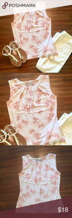 Marc Jacobs  sleeveless blouse Beautiful white sleeveless blouse with pink floral pattern.  Bust area is lined, fitted through the waist for a flattering fit.   Perfect for the office or anytime!  NWOT.  Never worn. Marc Jacobs Tops Blouses