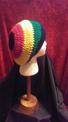 Crochet Slouchy Hat, Red, Yellow, Green and Black Crochet Slouchy Beanie, Crochet Hat, Jamaican Hat, Slouchy Hat, Ready to Ship, B70-17-0127 by NoreensCrochetShop on Etsy
