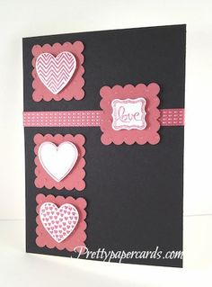 Valentines Day Card by Pretty Paper Cards. A simply sweet card to make! Use black cardstock as your base, and cut scalloped squares from pink cardstock. To give your hearts added dimension, use foam dots behind! You can find different sizes of foam dots for your paper crafting projects at www.cardstockshop.com.
