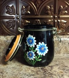 1970s Hand-Painted Canning Jar by VintageAndNotShoppe on Etsy