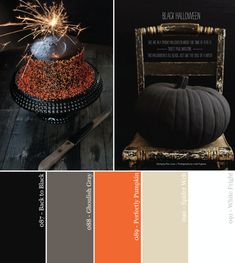 Black Orange and Neutral Halloween Party Color Palette- gosta desta mistura para vestidos Black Color Palette, Orange Color Palettes, Bedroom Colour Palette, Colour Pallette, Colour Schemes, Color Combos, Orange Palette, Neutral Palette, Looks Halloween