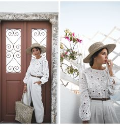 EXPLORING SANTORINI - Lovely Pepa by Alexandra. White perforated blouse+natural coloured pants+white slides+straw hat+wicker tote bag+brown belt. Spring Casual Outfit 2017
