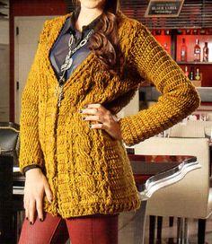tejidos artesanales en crochet: cardigan con ochos tejido en crochet (talle large)
