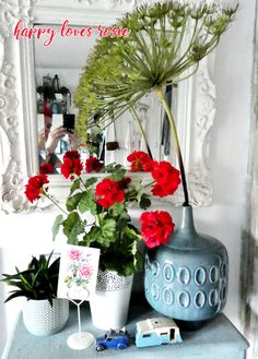 dinky caravan and red geraniums – Famous Last Words Container Flowers, Container Plants, Pack Up And Go, Red Geraniums, Fall Planters, A Little Party, Family Support, Container Gardening Vegetables, All Friends