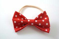 Red Polka Dot Fabric Hair Bow Headband. by ElizabethsBowShop