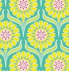 Heather Bailey's Pop Garden, Pop Daisey Fabric in Turquoise