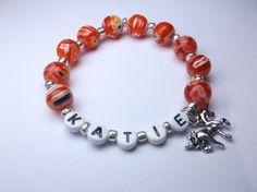 Unicorn charm bracelet personalized name by Sellingitforyou