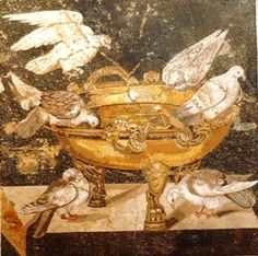 Fresco of doves drinking from a footed bowl. Pompeii.