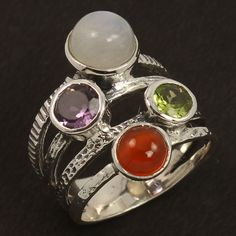 Natural CARNELIAN & Other Gemstones 925 Sterling Silver Amazing Ring Size US 7.5 #Unbranded