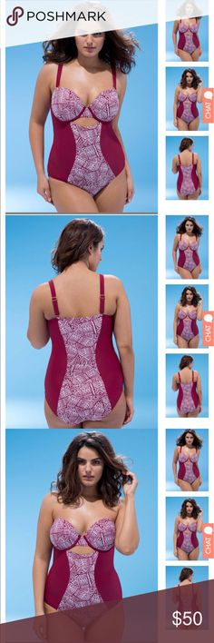 Beautiful sweetheart neckline swimsuit This is a very sexy but supportive sweetheart neckline underwire swimsuit with a sultry cutout brand new with tags hygienic plastic attached THE COLOR IS NOT RED ITS BURGUNDY swimsuit for all Swim One Pieces