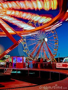 Bright lights on rides at amusement park