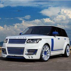 White & Blue Range Rover Sport
