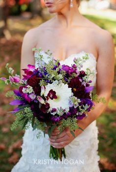 Bold and Beautiful Purple and Ivory Bouquet by Cedarwood Weddings. Photo by Kristyn Hogan.