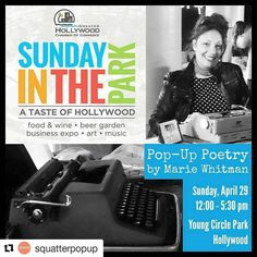 Credit to #squatterpopup ・・・ #sundayintheartspark  Poet Pk  #eatyourpoem ・・・ This Sunday at Young Circle Arts Park in #hollywoodfl! #sundayintheartspark will be a day of food, music, vendors and POETRY!  #poetry #poemstogo #typewriter #vintage #miamiartist #browardcounty #mariewhitman #eatyourpoem  #poetry  #HollywoodTapFL #HollywoodFlorida #HollywoodFL #HollywoodBeach #DowntownHollywood #Miami #FortLauderdale #FtLauderdale #dania #daniabeach #Aventura #Hallandale #hallandalebeach…