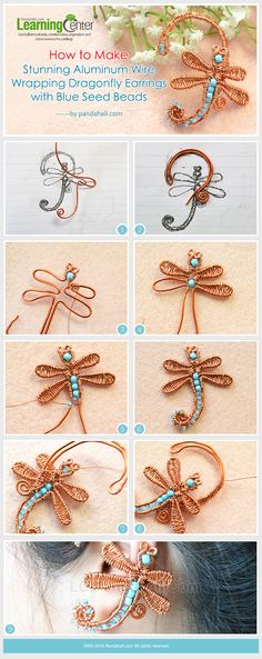 Tutorial on How to Make Cheap Aluminum Wire Wrapping Dragonfly Ear Cuff with Blue Seed Beads from LC.Pandahall.com       #pandahall