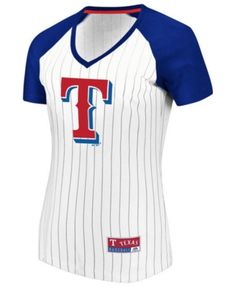 71e6fdcc7a4 Majestic Women s Texas Rangers Every Aspect Pinstripe T-Shirt - White XL Texas  Rangers