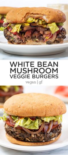 This white bean mushroom veggie burger recipe is the best you'll ever try! They're meaty, easy to make, perfectly seasoned as well as vegan and gluten-free! Fall Dinner Recipes, Vegetarian Recipes Dinner, Vegan Recipes Easy, Veggie Recipes, Meal Recipes, Free Recipes, Dinner Ideas, Mushroom Veggie Burger, Homemade Veggie Burgers