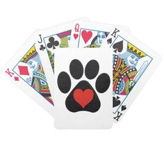Playing Cards ~ Paw Print  http://www.zazzle.com/playing_cards_paw_print-256010296806732642?rf=238623545376815743   #playingcards #pawprints