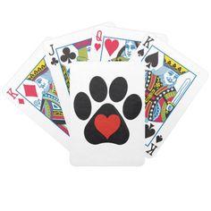 Playing Cards ~ Paw Print  http://www.zazzle.com/playing_cards_paw_print-256010296806732642?rf=238623545376815743   #playingcards #pawprints