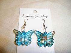 Lovely Tibetan  Silver, Glazed Butterfly Turquoise and Gold Earrings