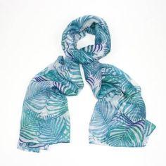 Fresh Green & Blue Palm Leaves Scarf fresh_fun_blue_green_white_palm_leaves_tropical_exotic_scarf_sarong_holiday_versatile
