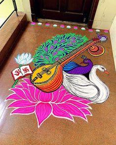 Rangoli Designs Flower, Rangoli Ideas, Colorful Rangoli Designs, Kolam Rangoli, Mehndi Art Designs, Beautiful Rangoli Designs, Kolam Designs, Flower Rangoli, Rangoli With Dots