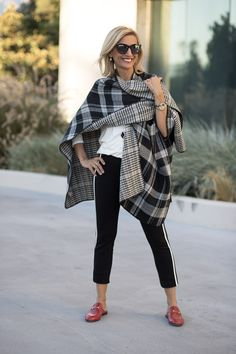 Mixing Patterns With A Touch Of Red with our black ivory stripe vest ivory jersey top reversible plaid poncho all of which you can wear to any fun occasion Over 50 Womens Fashion, Fashion Over 50, Look Fashion, Winter Fashion, Fashion Outfits, Trendy Fashion, Girly Outfits, Stylish Outfits, Winter Outfits