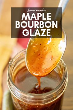 Maple Bourbon Glaze is a sweet and sticky glaze that is perfect on ribs, chicken, and more. It's a delicious and beautiful way to finish up any of your BBQ. Maple Bourbon Glaze Recipe, Bourbon Recipes, Bourbon Bbq Sauce Recipe, Bourbon Drinks, Ham Glaze, Burbon Sauce, Grilling Recipes, Marmalade, Dressings