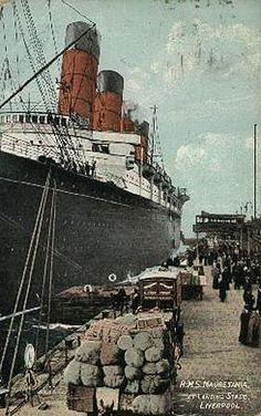 Lusitania of 1907 - Cunard Line Ocean Liner Postcards Liverpool Docks, Liverpool History, Rms Mauretania, Costa, Ways To Travel, Travel Tips, Merchant Navy, Rms Titanic, Time Photo