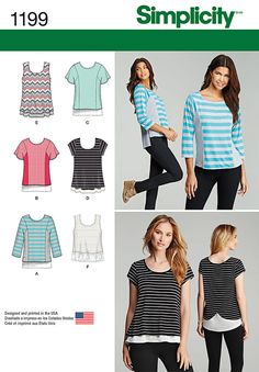 Sew a comfy knit top featuring contrast side panels with flutter or three quarter sleeves, cap sleeve or sleeveless top with double layer and back interest, or sleeveless top with stretch lace hem. Available in Miss and Plus Sizes.