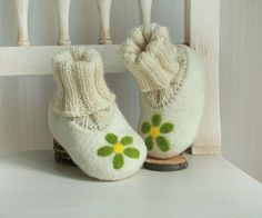 Organic felted knitted ivory white green wool baby girl shoes with green flower Size 4 - Baby Toddler christening boots  - Ready to ship. $35.00, via Etsy.