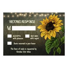 Farm Wedding RSVP Rustic String Lights Sunflower Wedding RSVP Cards