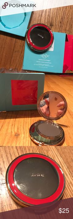 "Kate spade compact mirror. BNWT. Made by Lenox This one is red and gold tone with double mirror in both ends. Clips open and closed. If I can sell this right away, there are 2 other colors I can try and get. No guarantees though, they are popular and sell out fast!  So I feel pretty lucky when I do find them. 2.5"" round. This one says ""darling"" it is totally a Kate spade look. I have this and Karen walker compact and I can't figure out which one I want to keep. So help a girl out that's…"