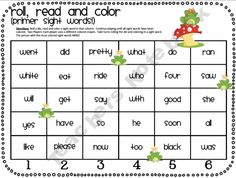 Roll, Read and Color (Primer Sight Words) from TheMoffattGirls FREE on Teachers Notebook. Sight Word Practice, Sight Word Games, Sight Word Activities, Reading Activities, Sight Words, Kindergarten Reading, Teaching Reading, Teaching Ideas, Learning