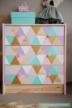 Kid's Bedroom Side Table. You can decorate the simple and boring IKEA RAST dresser with colorful paints for a kid's room. See more
