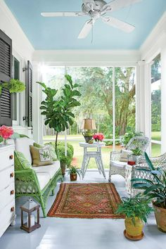 "Designed for Gathering - Our New Favorite 800-Square-Foot Cottage That You Can Have Too - Southernliving. Out back, another porch holds its own as additional living space, outfitted with wicker furniture and a dresser for storage. ""Porches have really become destinations,"" Ingram says. ""They are their own rooms, not just extensions of other rooms."" The ceiling and floor match those on the front porch, but he went ahead and screened in this space. ""I tend to think that back porches are always…"