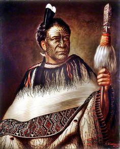 Ngairo Rakai Hikuroa, chief of the Ngati Kahungunu Wairarapa on the south-eastern coast of North Island, resplendent wearing a beautiful cloak, Huia feathers and shark-tooth and red wax ear pendant. Oil painting signed by G. Maori Tattoos, Ta Moko Tattoo, Samoan Tattoo, Maori People, Tribal People, Facial Tattoos, Body Tattoos, John Singer Sargent, Gustav Klimt