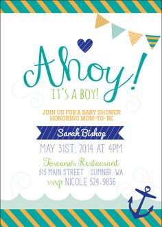 Nautical Baby Shower - Ahoy It's A Boy Collection - Printable  Invitation by Itsy Belle