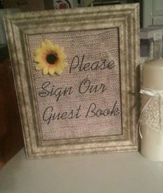 Burlap Wedding Vintage Sunflower Decor Sign Our Guestbook | eBay