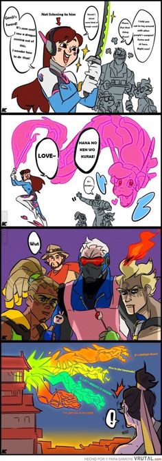 (Overwatch) D.Va, Lucio, Soldier McCree and Junkrat Overwatch Comic, Overwatch Memes, Overwatch Genji, Game Costumes, Gaming Memes, Funny Games, Funny Comics, Funny Moments, Nerdy