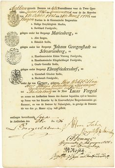 Keursaxische Bergwerke Amsterdam, 1776, Bergwerksdokument über die Auszahlung von 18 gerande Ducaten für 9 Kuxe, 27,9 x 18,3 cm, schwarz, beige, leichte Knickfalten, sonst EF, OU, Rarität aus einer alten Sammlung.