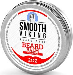 Beard Balm with Leave-in Conditioner- Styles, Strengthens & Thickens for Healthier Beard Growth, while Argan Oil and Wax Boost Shine and Maintain Hold- 2 oz Smooth Viking - New Beard Look